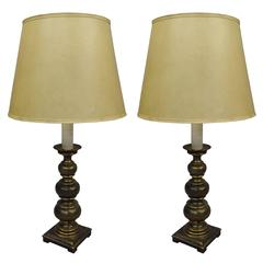 Pair of British MId-Century Modern Neoclassical Brass Ball Lamps