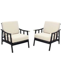 Pair of Faux Bamboo Lounge Chairs New Upholstery