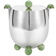 Ball Ice Bucket with Jade by Edward Tuttle and Wiener Silber Manufactur