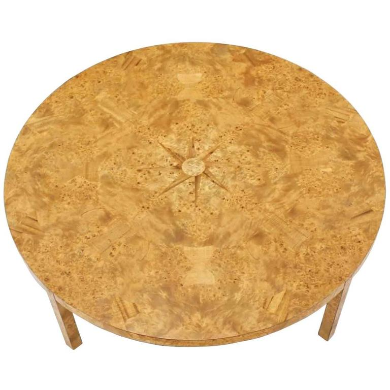 Large Round Burl Wood Coffee Table For