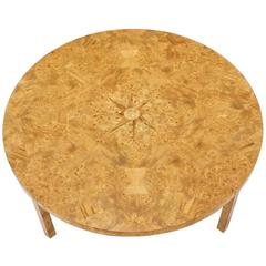 Large Round Burl Wood Coffee Table
