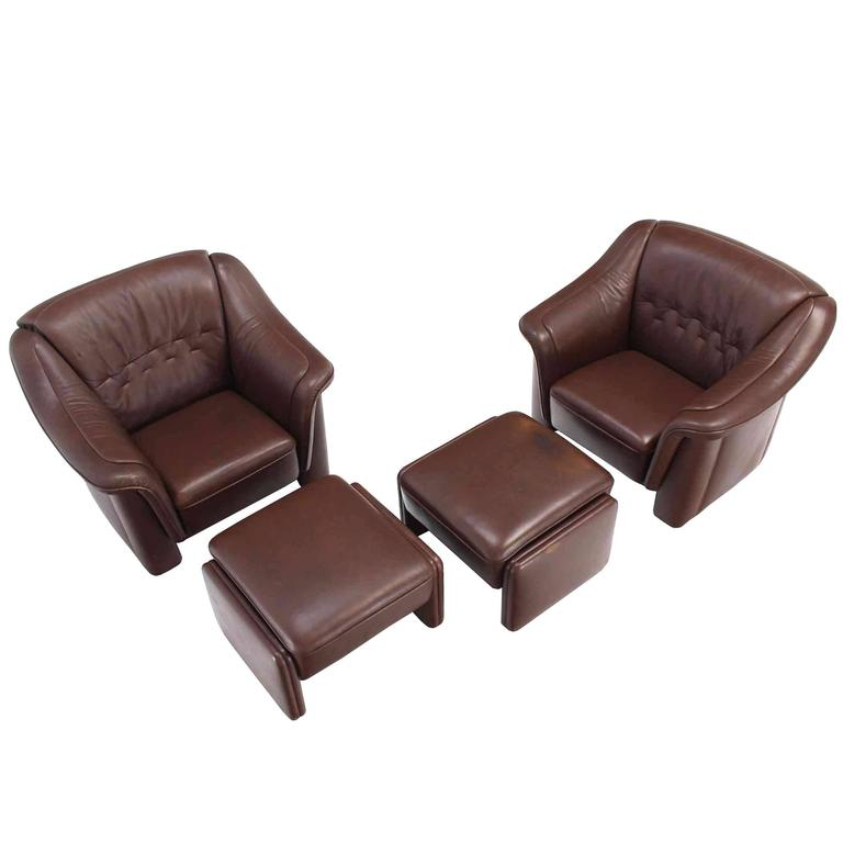 Pair of Brown Leather Lounge Chairs with Ottomans