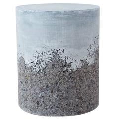 Hand Made Grey Agate and Light Blue Plaster Drum, Side Table by Samuel Amoia