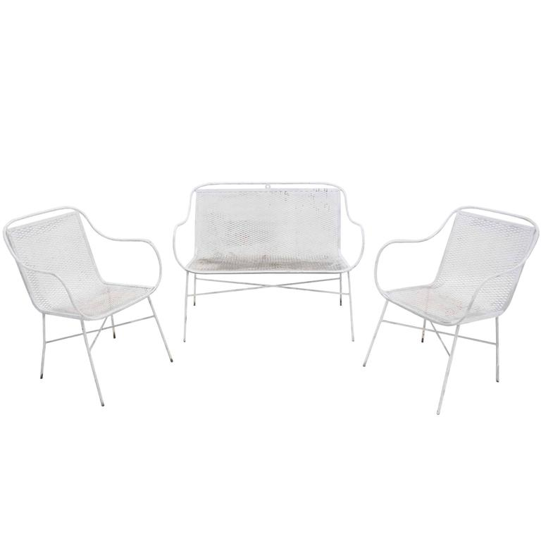 Outdoor Metal Loveseat and Pair of Matching Chairs