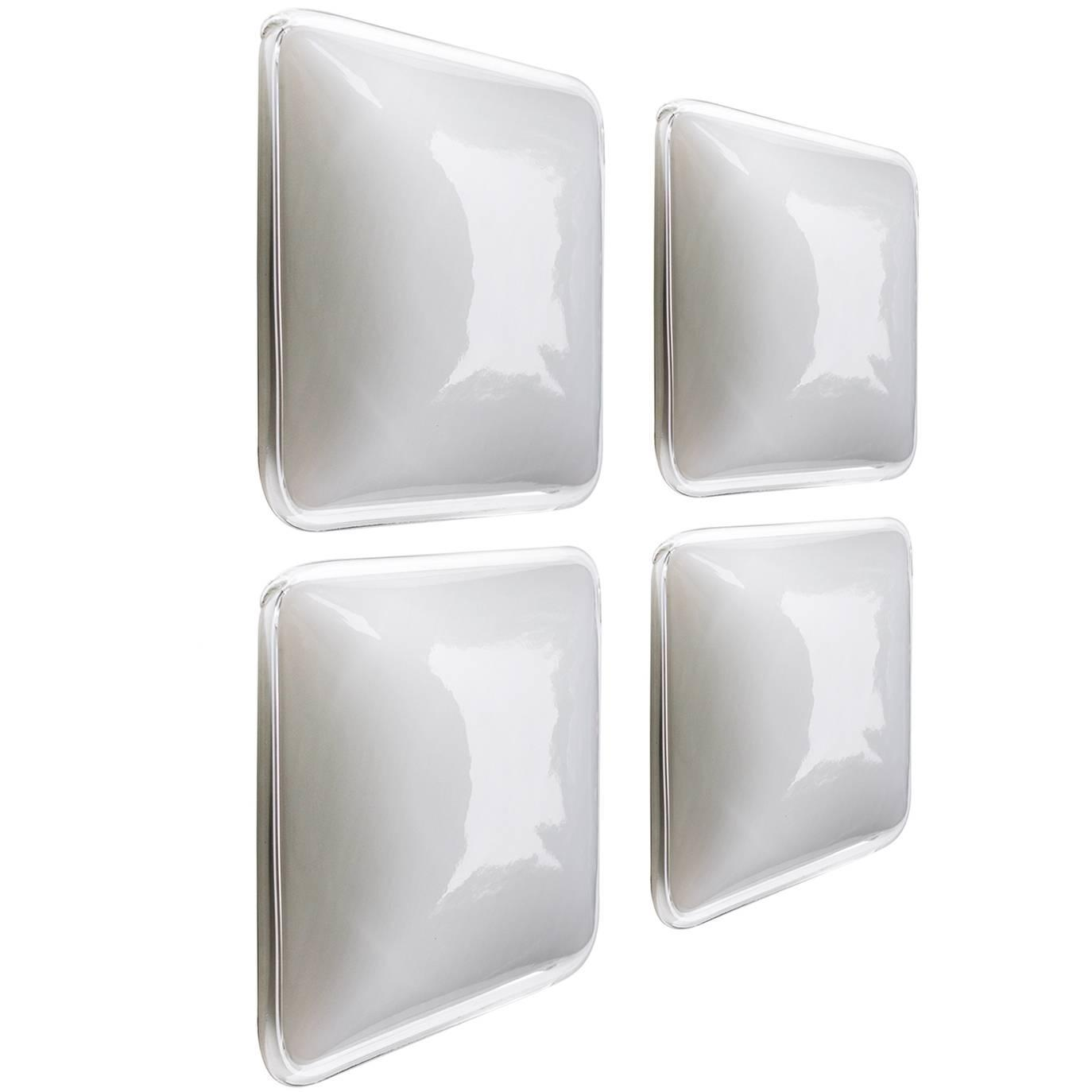Set of Four Square Handblown Glass Wall Ceiling Lights Flush Mounts, Germany For Sale at 1stdibs