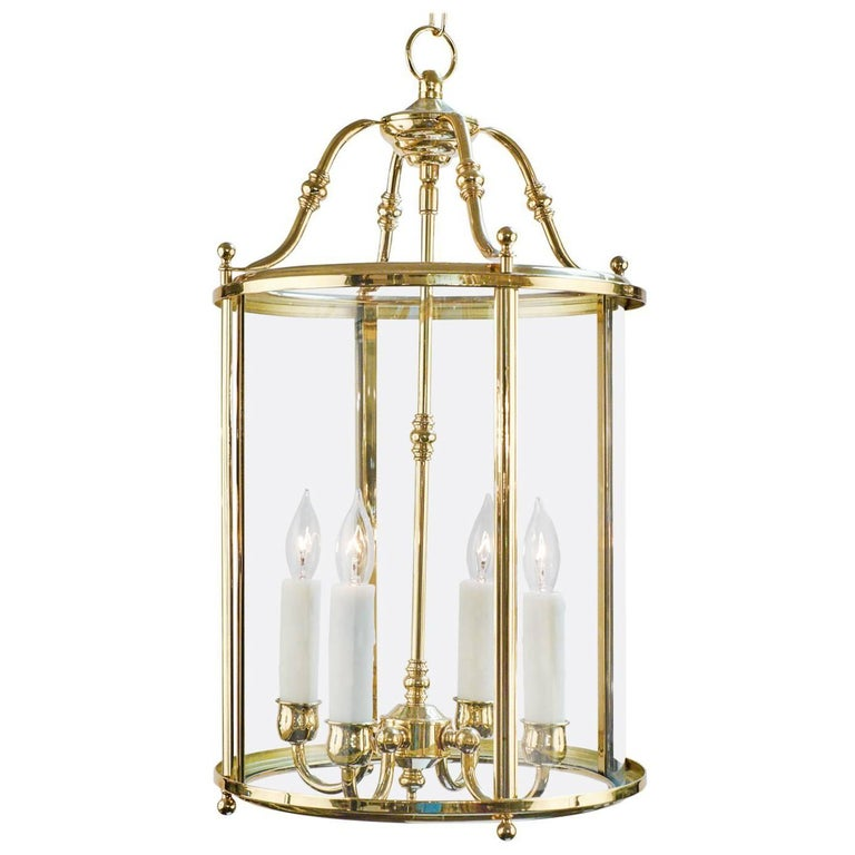 French Vintage Brass And Glass Lantern For Sale At 1stdibs