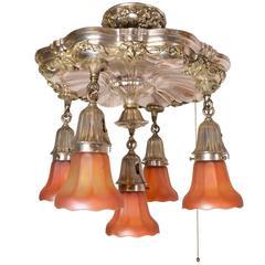Stunning Silver Plated Five-Light Chandelier with Carnival Glass Shades