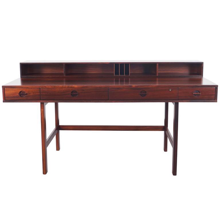 Danish rosewood flip top desk by jens quistgaard at 1stdibs for Flip top computer desk