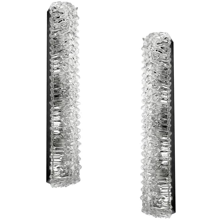 Large Glass Wall Sconces : Pair of Very Large Square Murano Glass Sconces Modernist Chrome Wall Lamps at 1stdibs
