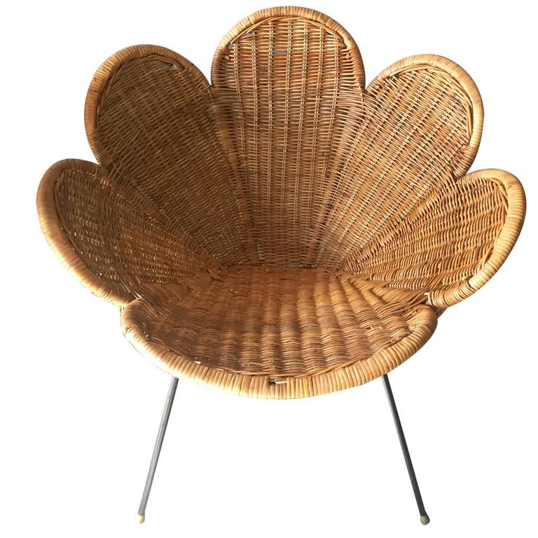 Bon Rattan And Iron Flower Chair For Sale