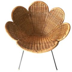 Rattan and Iron Flower Chair