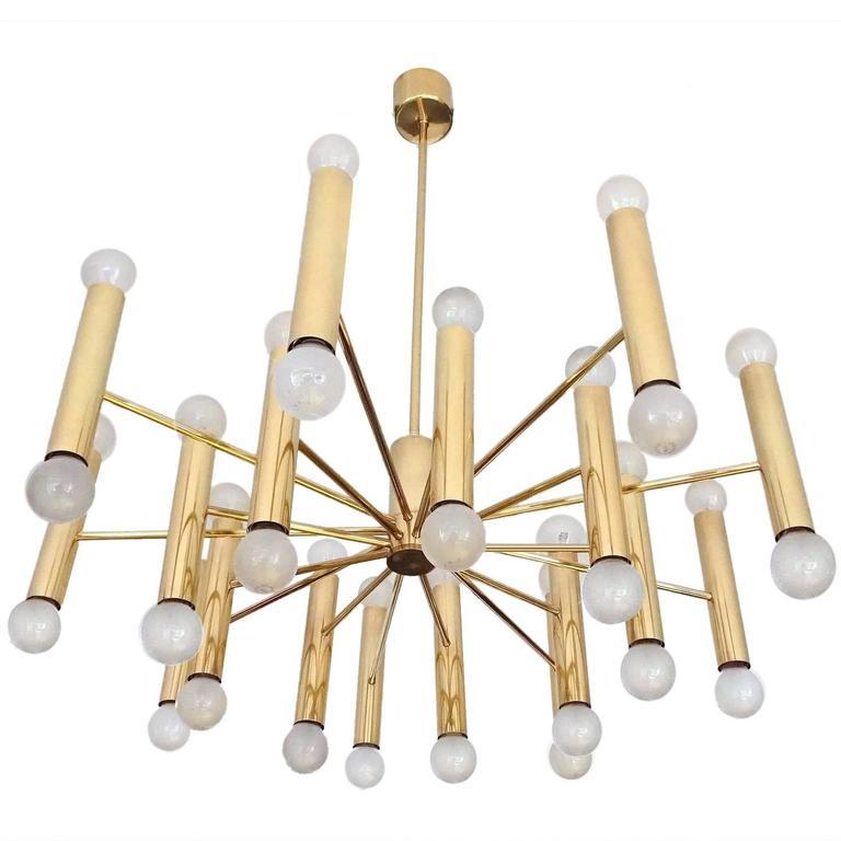 Large 36 Lights Doria Sputnik Brass Chandelier Pendant LIght, MIdCentury