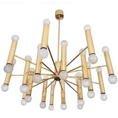 Large  MidCentury  36 Lights Doria Sputnik Brass Chandelier Pendant Light, 1960s