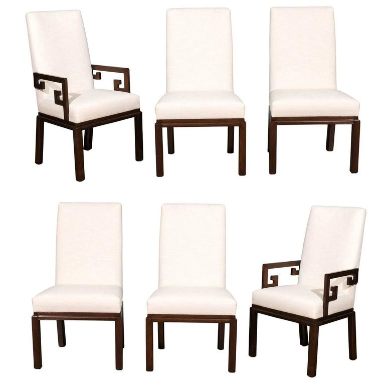 Rare Restored Set Of Six Parsons Style Dining Chairs By