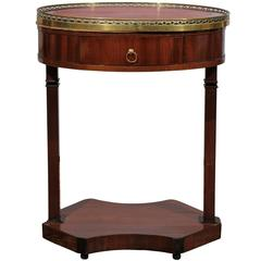19th Century French Empire Mahogany Oval Table with Marble Top and Gallery