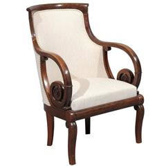 Early 19th Century French Mahogany Empire Fauteuil with Scroll Arms