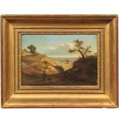 19th Century Italian Oil on Canvas Landscape Painting in Giltwood Frame