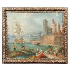 Large Framed Oil on Canvas Painting of Harbor, circa 1800