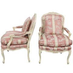 Pair of Louis XVI Style Cream Painted Fauteuils