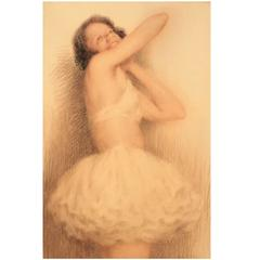 Pastel Drawing of a Ballerina by Lucien Boulier
