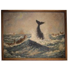 19th Century Whale Painting