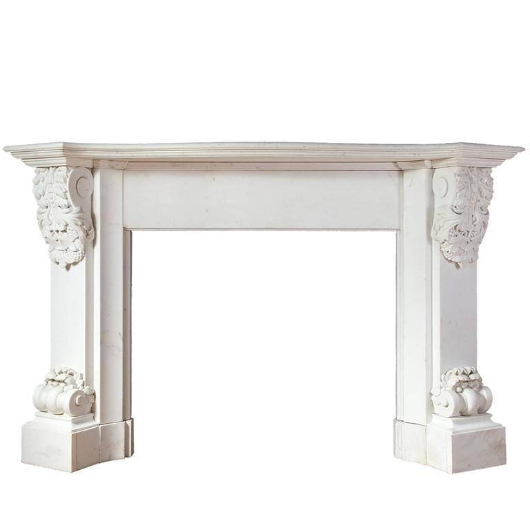Antique Carved White Statuary Marble Fireplace