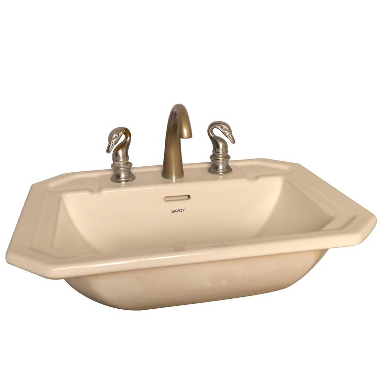 Sink with Vintage French Empire Style Swan Taps For Sale at 1stdibs