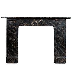 Antique Portoro Nero Marble Fireplace
