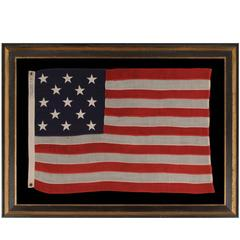 13 Stars Arranged in a 3-2-3-2-3 Pattern on a Small-Scale Antique American Flag
