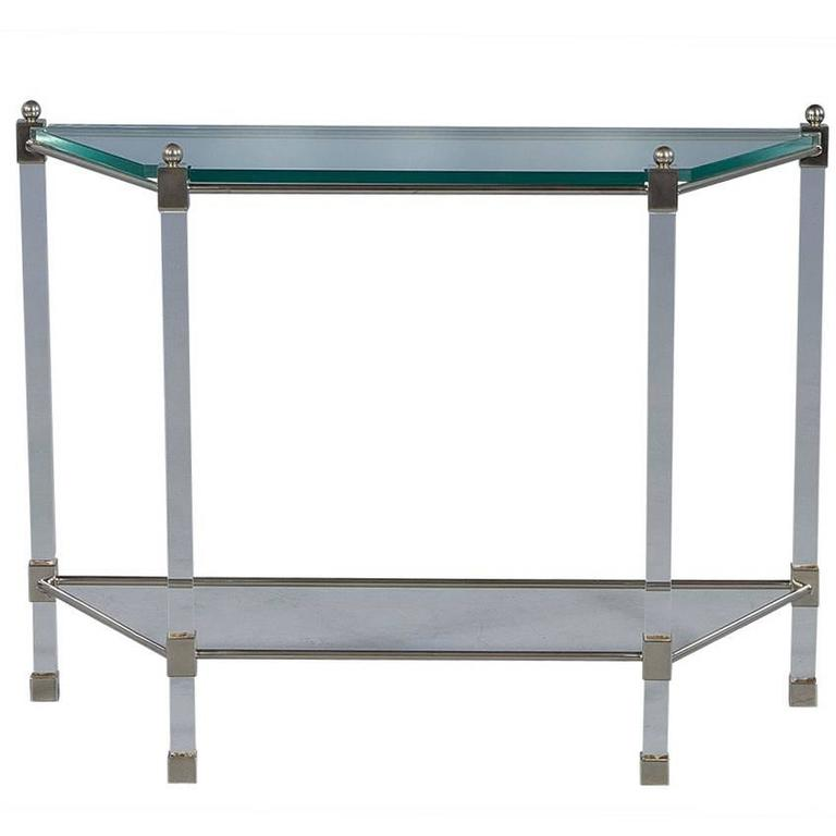 Angular French Lucite and Glass Console For Sale