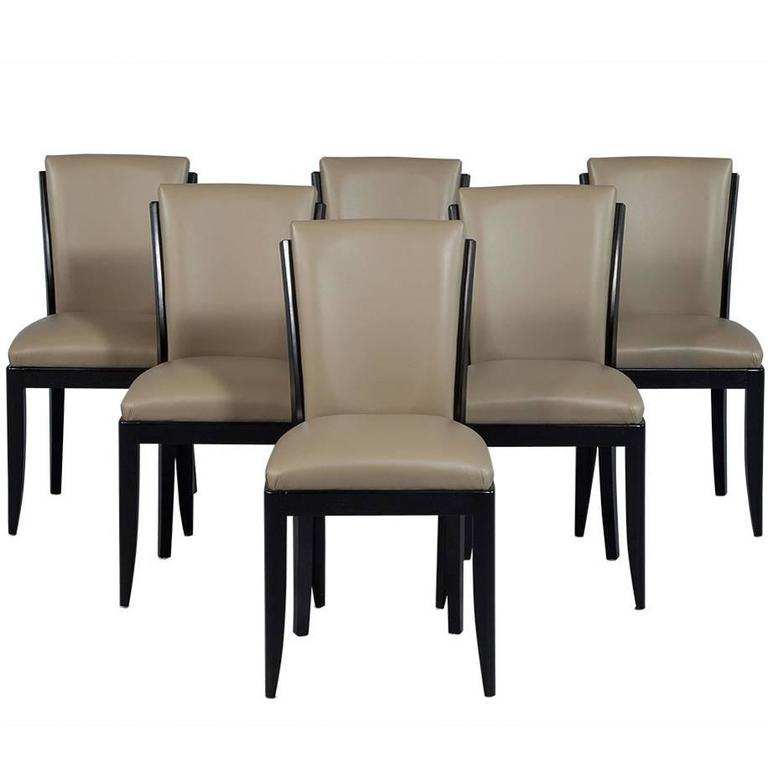 set of six deco leather dining chairs at 1stdibs