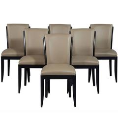 Set of Six French Art Deco Leather Dining Chairs