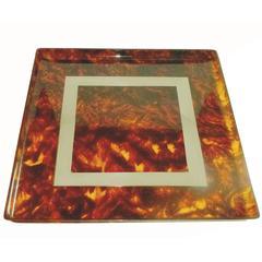 Acrylic and Chrome Square Tortoiseshell Look Barware Tray
