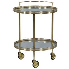 Round Art Deco Style Brass and Glass Bar Cart