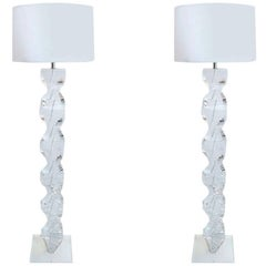 "Pair of 1970s ""Spiral"" Floor Lamps in Lucite"