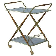 Antique Polished Brass and Wood Bar Cart