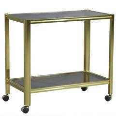 Vintage Art Deco Satin Brass Bar Cart