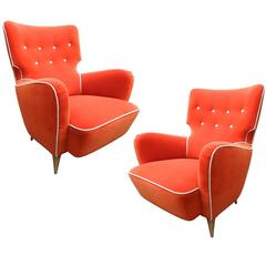 "Henri Caillon, Pair of Large Armchairs ""Calysse"" Erton Edition, 1956"