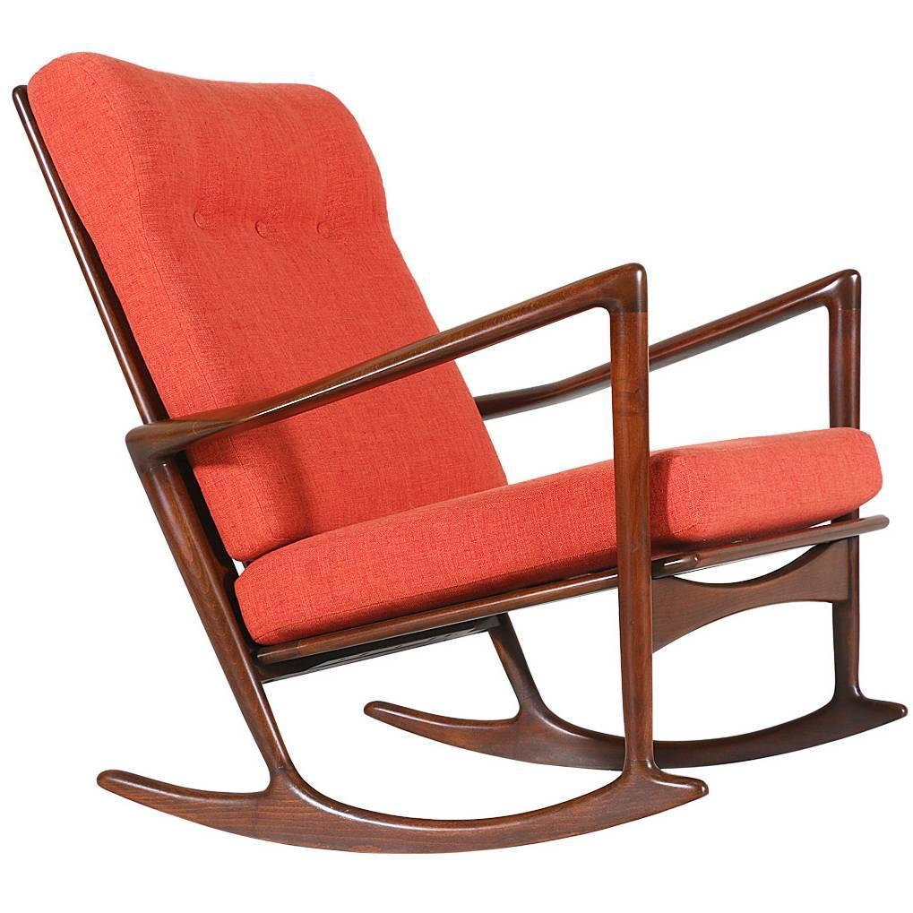 Ib Kofod Larsen Rocking Chair By Selig For Sale At 1stdibs