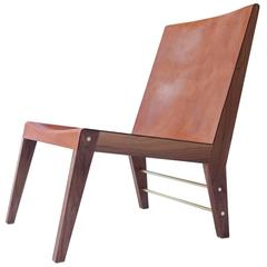 Lincoln Chair by Asher Israelow in Leather, Walnut and Brass