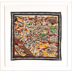 Los Angeles Area, Southern California Pictorial Tourist Scarf, circa 1930s