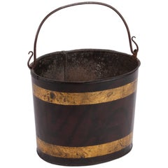 A Painted Metal Tole Bucket with Delicately Curved Handle