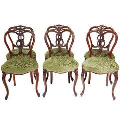 Set of Six 19th Century Carved Walnut Victorian Dining Chairs