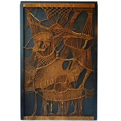 1970s Macramé Panel of Woven and Beaded Rope Tapestry