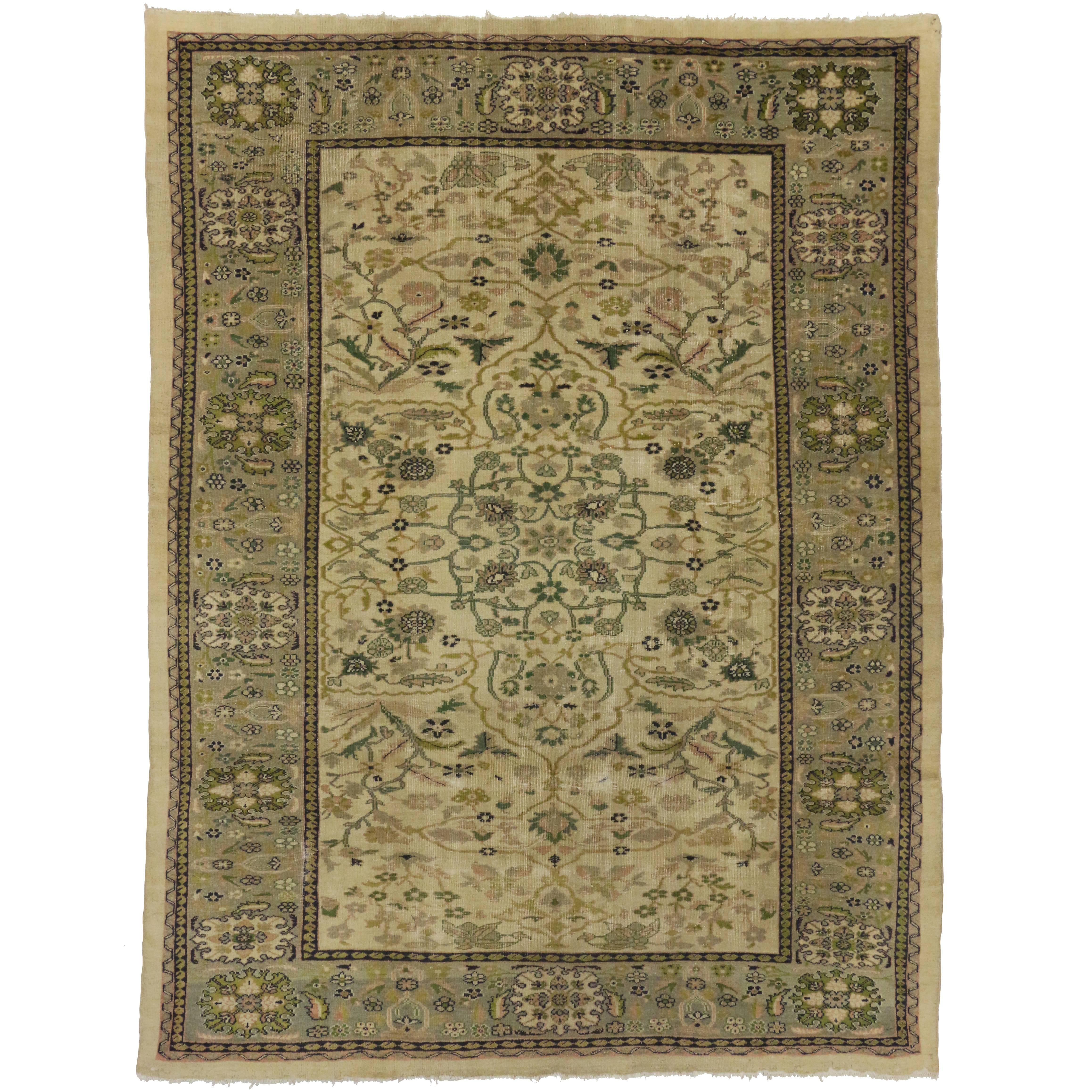 Distressed Antique Persian Sultanabad Rug with English Country Cottage Style