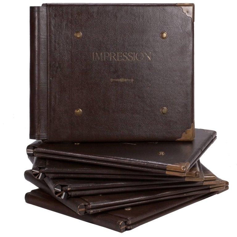 1900 Set of Five French Factory Portfolios in Leather For Sale