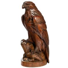 Black Forest Carved Figure of a Hawk