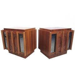 Pair of Mid-Century Modern Brasilia Style Nightstands with Mirrored Fronts