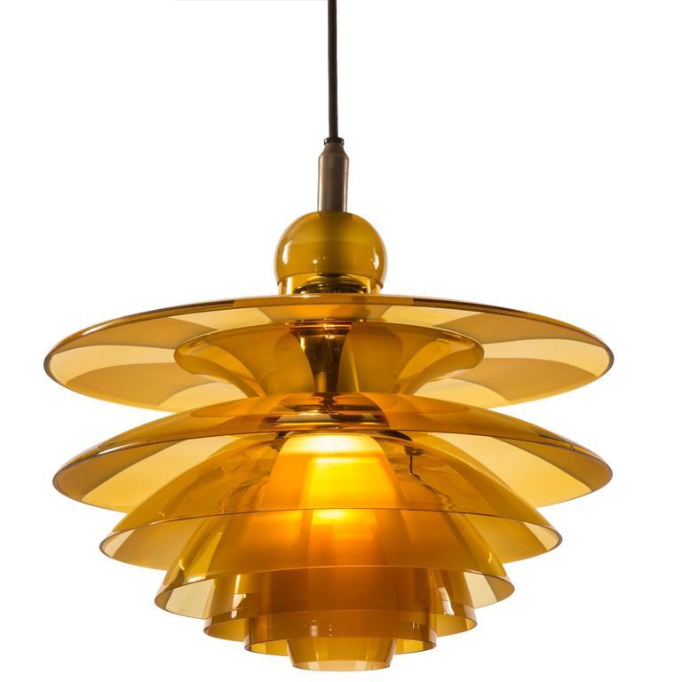 Poul Henningsen, Rare Danish Amber Glass Septima 4 Chandelier