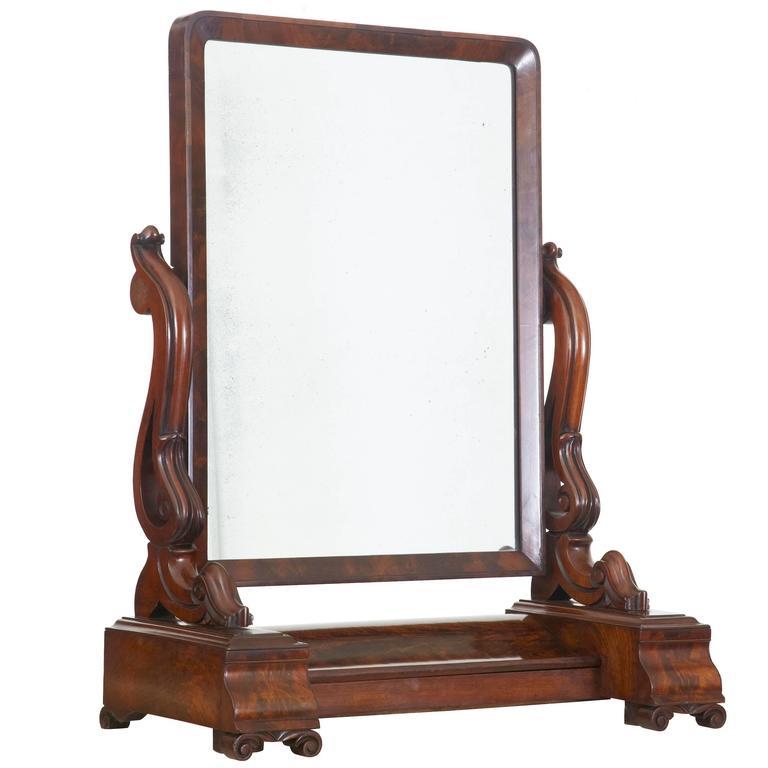19th Century Early Victorian Mahogany Vanity Mirror For Sale